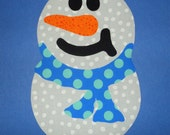 Save...Limited Time Special Price...Iron On SNOWMAN Applique Jumbo SNOWMAN...Blue Dot Scarf