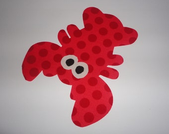 Iron On Fabric Applique RED Dot LOBSTER