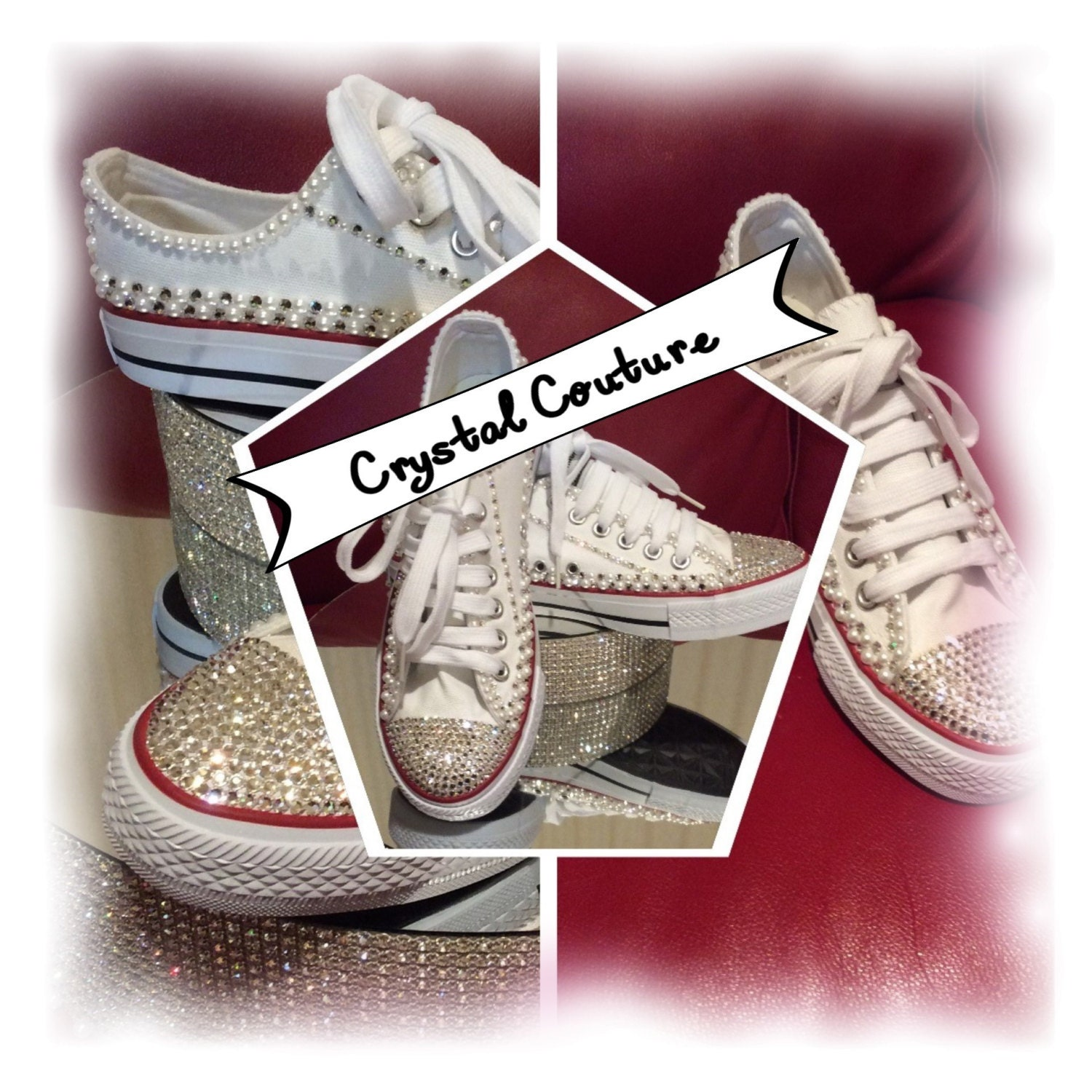 WHITE Pearl and Crystal Wedding Converse Shoes