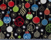 Cotton Fabric - Christmas Ornaments on Black - Enchanted Christmas by Exclusively Quilters - by the Yard