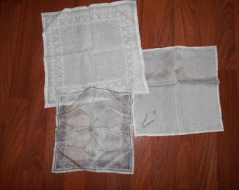 EDWARDIAN SILK HANKIES  antique embroidered exleent to very good condition 2 silk 1 cotton batiste