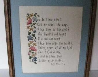 "Counted Cross Stitch Finished-Home Decor-Framed Art ""How Do I Love thee"" Framed..#BB1"