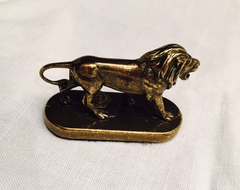 Small Brass Lion Statue Figurine Paper Weight Lions Club International Vintage 1960s