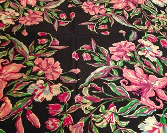 50's Rayon Floral Lilies and Carnations