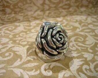 Vintage Sterling Silver Large Flower Ring