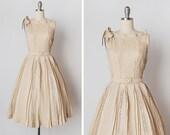 vintage 1950s dress / 1950s lace silk dress / 50s Carlye dress / Petite Coquette dress
