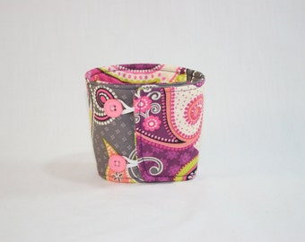 Pink Grey Green Paisley Coffee Cozy Sleeve