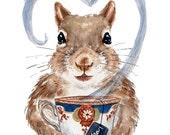 Squirrel Watercolor - 8x10 PRINT, Watercolour Painting, Tea Illustration, Teacup Painting, Nursery Art, Kitchen Art