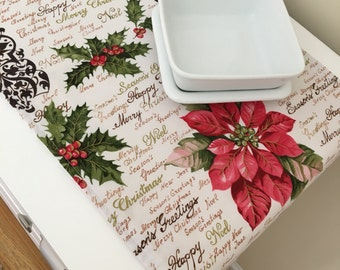 Table Runner | Festive Decor | Christmas Centerpiece | Pink Poinsettia Table Runner | Holiday Table Runner | Shaby Chic Christmas
