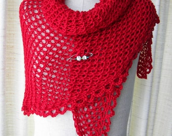 RED Hand Knit Shawl Triangle Scarf in Anti Pill Acrylic w/ ART PIN/ Gift under 25 dollars