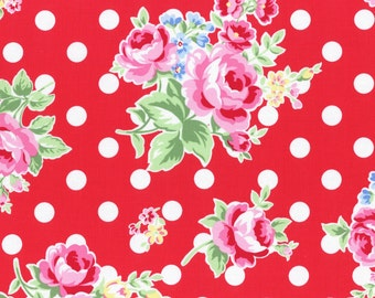 Floral red fabric with white dots from Flower Sugar fall 2015 fabric collection by Lecien of Japan