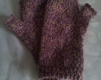 Hand Knitted Fingerless wool gloves. Soft wool arm warmers