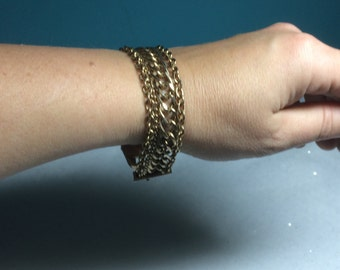 Vintage 1960s 1970s Multistrand Multichain Gold Tone Goldtone Well Made Bracelet Repurpose UpCycle Do It Yourself Massive Charm Bracelet