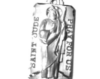 Vintage Chapel Sterling Silver Saint St Jude Medal Charm Pendant
