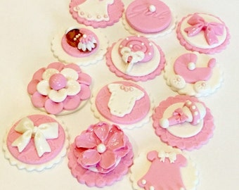 Fondant Baby Girl Cupcake, Cake, Cookie Toppers. Set of 12 (one dozen)