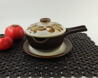 Flint Figgjo Norway - POMPEII - Sauce Gravy Boat Dish Pan Saucier - Underplate Lid - Brown Stoneware Handpainted