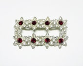 Art Deco Rectangle Brooch - Red and Clear Rhinestones Flowers - Floral Design Pot Metal Brooch - 1940's Era