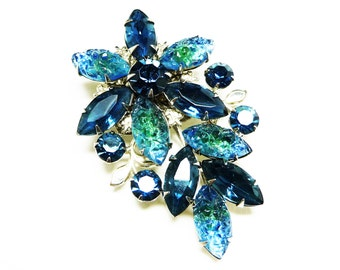 Blue Rhinestone Flower Brooch with Fruit Salad Marquis - Vintage 1950's Mid Century Brooch - Judy Lee Style