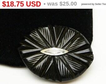 Black Bakelite Dress Clip with Clear Navette Rhinestone - Art Deco Style Mid Century Vintage Jewelry