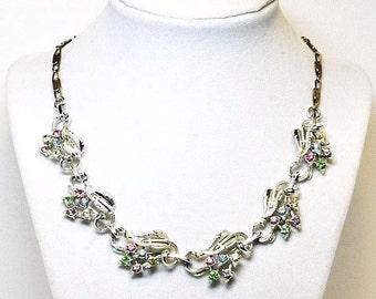 Vintage Leaf Necklace with Pastel Rhinestones & White Enamel Leaves  - Designer Signed STAR