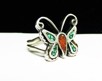 Southwestern Butterfly Ring - Chipped Turquoise & Coral Wings and Body - Flying Insect Silver Jewelry
