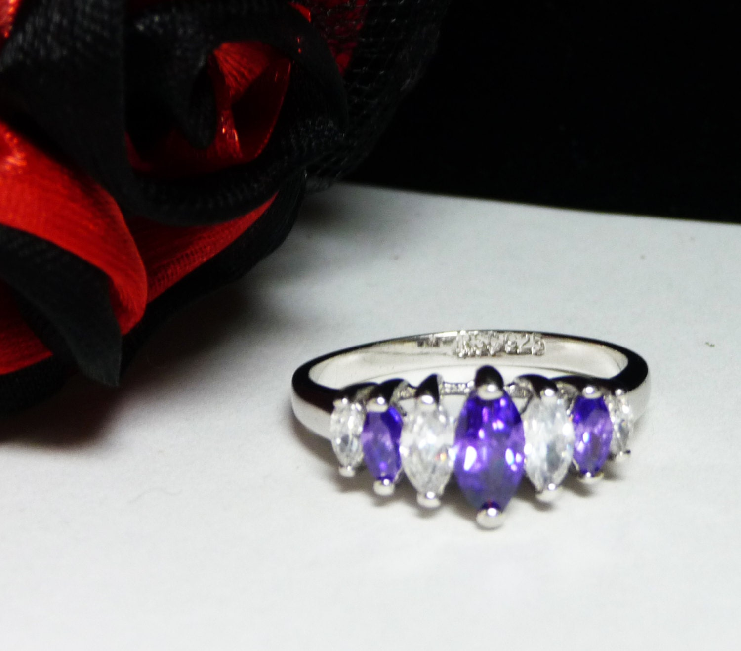 sterling silver ring purple white marquis cz