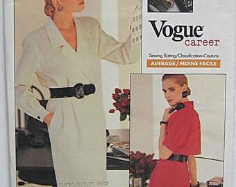 Vintage 80's Anne Klein II Misses' Career Wrap Dress, Vogue 2057 Sewing Pattern, UNCUT Sizes 6-8-10