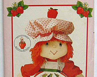"Vintage 80's Strawberry Shortcake 21"" Stuffed Doll and Clothes; Dress, Apron, Hat, Panties Butterick 297 Craft Pattern Cut and Complete"