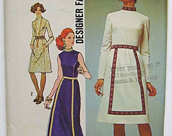 Retro 70's Vintage Designer Fashion Dress in 2 Lengths, Maxi, Evening Gown Simplicity 9606 Sewing Pattern UC Misses' Size 16