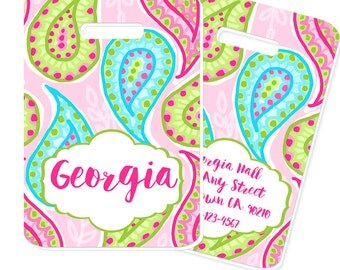 Pink Paisley Personalized Bag or Luggage Tag - Bag Tag, Monogrammed Bag Tag, Monogrammed Luggage Tag, Diaper Bag Tag
