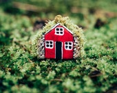 Miniature Moss Unique Roof Clay Icelandic Turf House Handmade