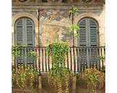 "Fine Art Color Photography of Balcony Shutters and a Fresco in Verona Italy - ""Veronese Balcony"""