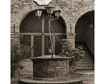 "Fine Art Sepia Photography of Tuscany - ""Old Well in the Tuscan Hilltown of Montalcino"""