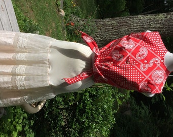 60's Bandana Top Red and White Blouse Bandana Pattern Tie at Waist Be a Hillbilly Filly Vintage Beach ware Polka Dots Vintage Summer Top