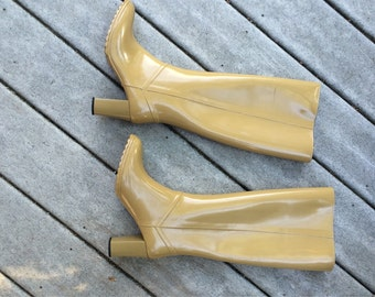 Go Go Boots Andrew Geller Boots Made in USA  Vinyl High Heeled Boots Size 6 Groovy Boots 70's Boots These Boots Are Made for Walking