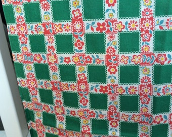 Vintage Curtains 2 Pair of Vintage Kitchen Curtains 4 Panels Country Cottage Floral and Box Print Curtains Kitchen Curtains Upcycle Retro