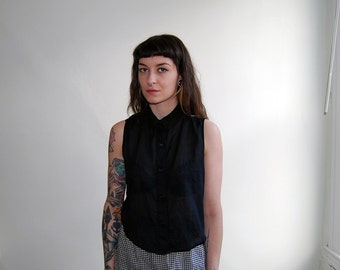black semi sheer cropped blouse with peter pan collar / size xs/s
