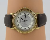 Vintage Yema Paris wrist watch, Mens Brown Leather band, Stainless Steel Back, Quartz Japan, Vintage, Battery included, Runs, Date works