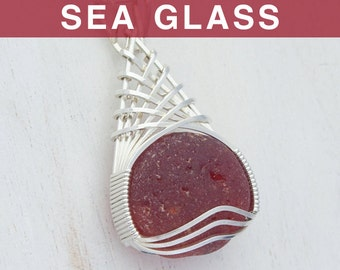 Antique Ruby Red Sea Glass Pendant