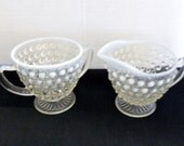 Anchor Hocking Moonstone Opalescent Hobnail Open Sugar and Creamer Set Vintage