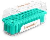 Impressart Metal Stamp Set Set Storage Case-Teal Color-6mm size slot-Metal Supply Chick-ScS27-t-633-t
