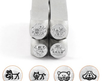 Cat and Dog Stamp Pack-Impressart-4 pc. 6mm  Metal Design Stamp ImpressArt-Design Stamp-Steel Stamp-Metal Supply Chick-sc156-b6m