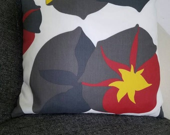 Outdoor or Indoor gray, red, yellow in white background pillow cover, Summer, Flower pillow shell, throw pillow covers, outdoor