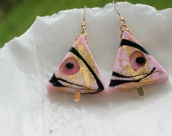 Triangular Venetian Murano Glass Earrings