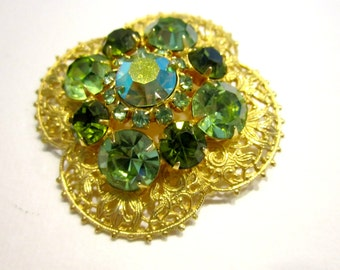 Vintage Large Green Rhinestone Brooch Vintage Aurora Borealis Green Stone Pin Gift for Mom Emerald Green Gift for Her