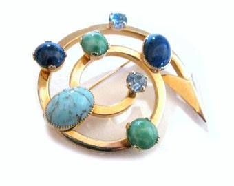 "Winding Arrow Brooch Blue Green Rhinestone Vintage Pin 2"""