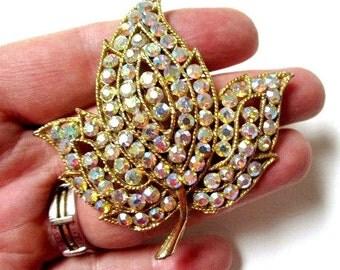 """Vintage Large Rhinestone Leaf Brooch Vintage Bright Aurora Borealis 2"""" Pin Gift Idea Under 40 Vintage Pin"""