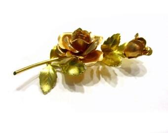 "Krementz 14k Gold Roses Brooch Gold Overlay Pin 3"""