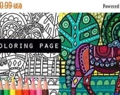 25% Off - Horse coloring, farm horses animals coloring book, adult coloring book, coloring pages, adult coloring pages, coloring book for ad