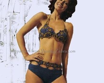 Vintage Crochet bikini star motif lace bra cups Pattern Patterns PDF PDFs 836 from WonkyZebra